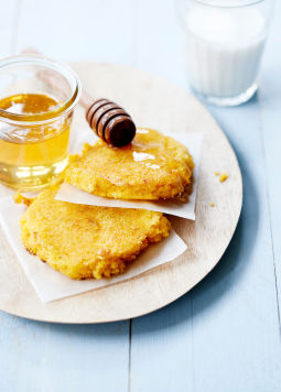 Moroccan semolina patties - Moroccan semolina patties on a white plate
