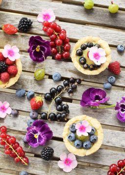 Beeren Vanille Toertchen  - Beeren Vanille Törtchen mit Blüten dekoriert auf grauen Holztisch.