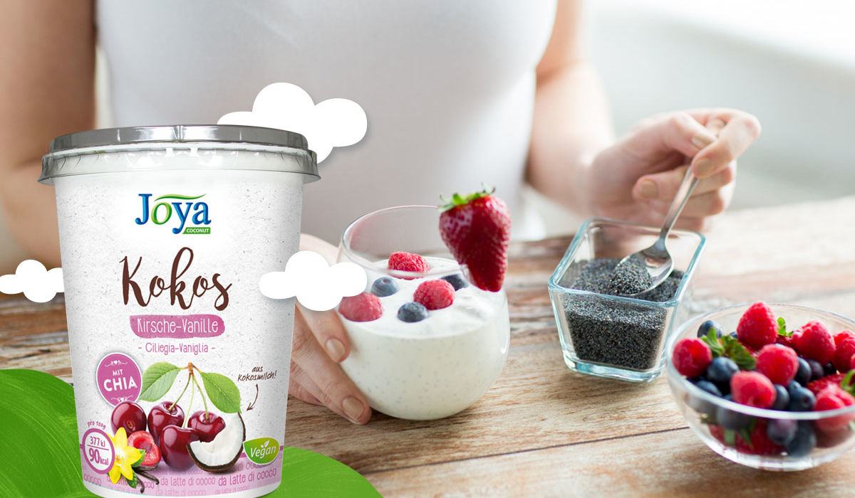 Joya Kokos Chia Joghurt Alternative - Joya Kokos Chia Kirsch Joghurt Alternative Grafik