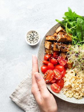 Pflanzliche Protein Bowl - Teller mit verschiedenem Gemüse, gebratenem Tofu und Reis auf weißem Hintergrund.