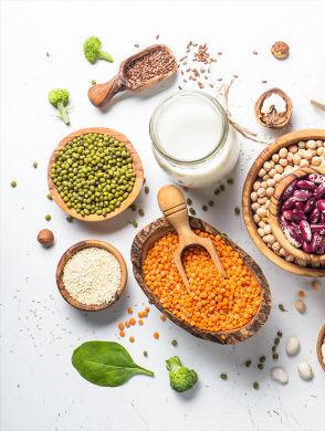 Pflanzliches Protein - Bild von verschiedenen pflanzlichen Proteinquellen: Linsen, Erbsen, Nüssen, Brokkoli, Tofu, diverse Samen, diverse andere Hülsenfrüchte