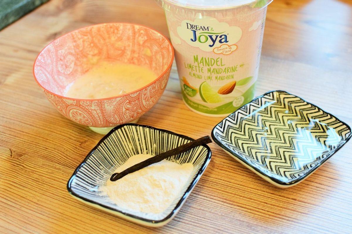 Limette-Mandarinen-Panna_Cotta-Joya-Zutaten - Zutaten für Limette-Mandarinen-Panna-Cotta mit Mandel Joghurtalternative - © Vegandreams