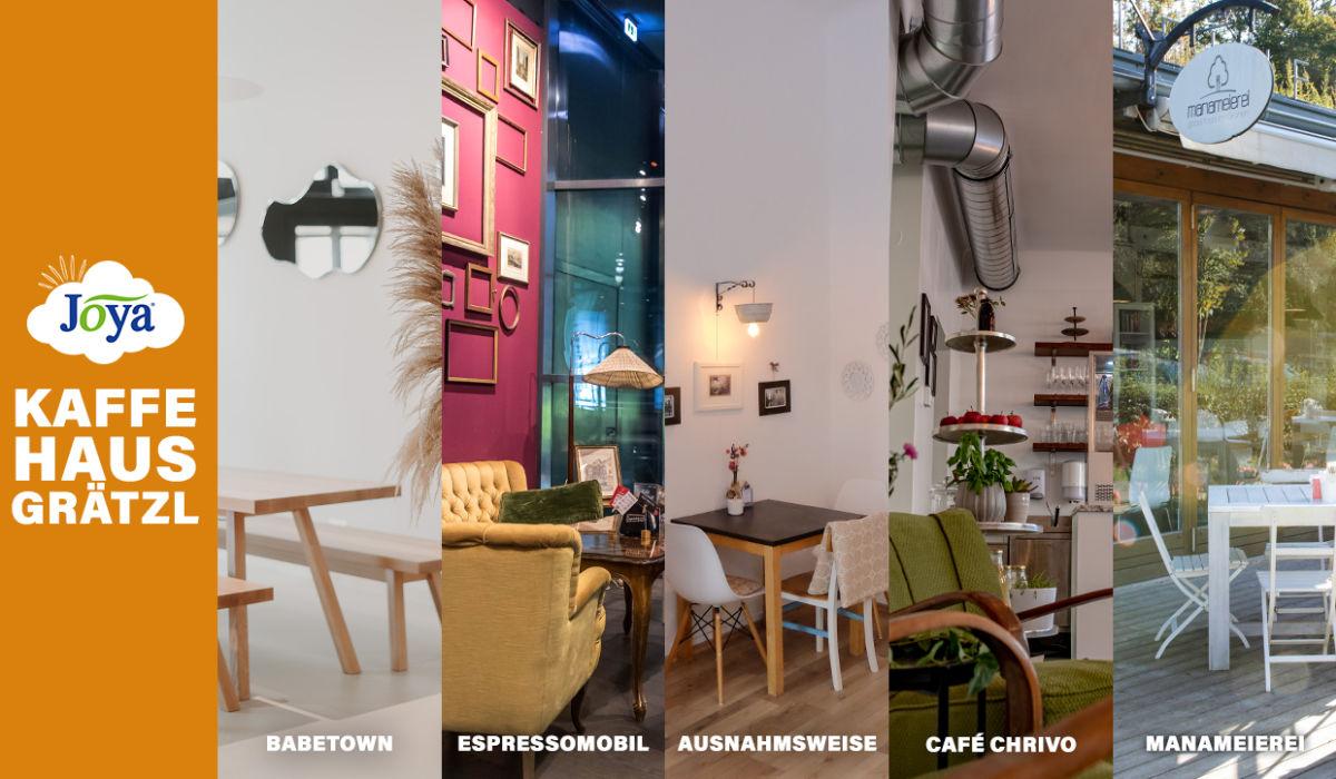 Kaffeehausgrätzl Header Bild - Ansicht verschiedenster Kaffeehäuser, die mit Joya zusammenarbeiten