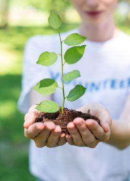 20190306_Beim-Fruehstueck-die-Welt-retten_1200x800 - Eine Frau hält eine junge Pflanze in den Händen - © Joya